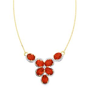 Tarocco Red Andesine Necklace with White Zircon in 9K Gold 6.61cts