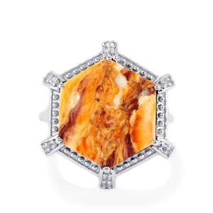 Lion's Paw Shell (15 x 15mm) & 0.12ct White Topaz Sterling Silver Ring