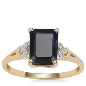 Ethiopian Sapphire Ring with Diamond in 9K Gold 2.85cts