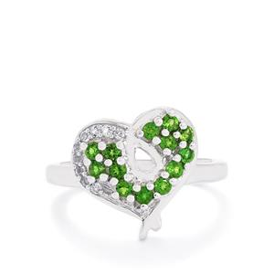 Chrome Diopside Ring with White Topaz in Sterling Silver 0.63ct