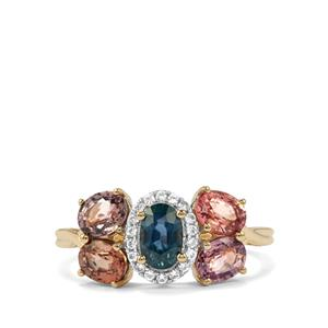 Madagascan Blue Sapphire, Natural Sakaraha Rainbow Sapphire Ring with White Zircon in 10K Gold 2.55cts