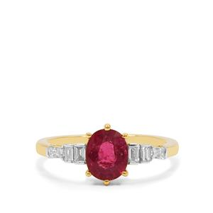 Nigerian Rubellite Ring with Diamond in 18K Gold 1.21cts