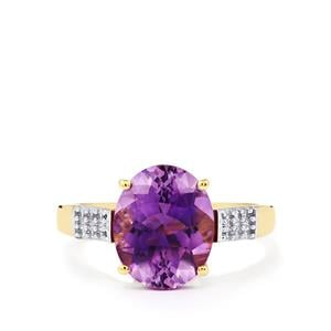 Moroccan Amethyst & White Zircon 9K Gold Ring ATGW 3.34cts