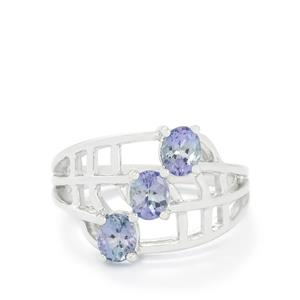 1.33ct Bi-Colour Tanzanite Sterling Silver Ring