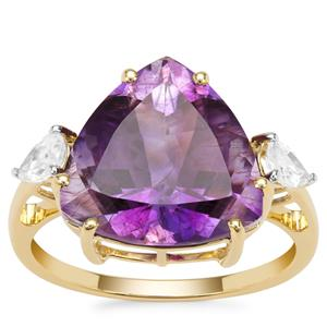 Moroccan Amethyst Ring with White Zircon in 9K Gold 6.59cts