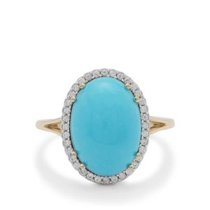 Sleeping Beauty Turquoise Ring with White Zircon in 9K Gold 5.35cts