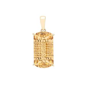 11.50ct Lehrer Matrix Cut Diamantina Citrine 9K Gold Pendant