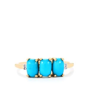 Sleeping Beauty Turquoise Ring with Diamond in 9K Gold 1.53cts