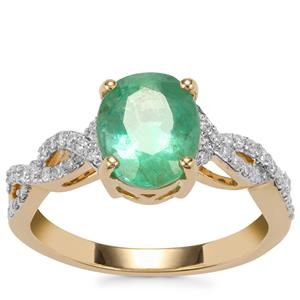 Zambian Emerald Ring with Diamond in 18K Gold 2.41cts