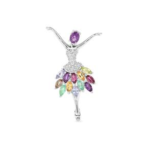 Kaleidoscope Gemstones Pendant in Sterling Silver 2.25cts