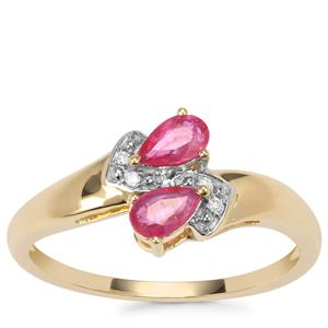 Montepuez Ruby Ring with Diamond in 10k Gold 0.49cts