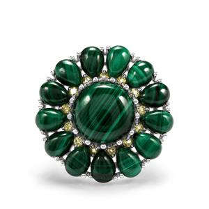 Malachite & Changbai Peridot Sterling Silver Ring ATGW 28.59cts