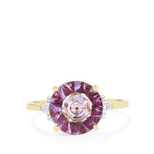 Lehrer KaleidosCut Rose Topaz, Cruzeiro Rubellite Ring with Diamond in 10K Gold 3.72cts