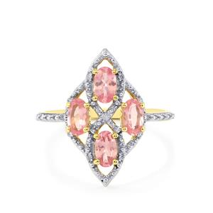 Pink Spinel Ring with Diamond in 9K Gold 1.02cts