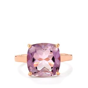 Rose De France Amethyst Ring in Rose Gold Plated Sterling Silver 6.10cts