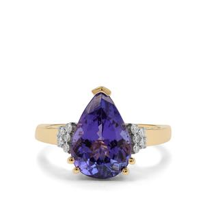 AAA Tanzanite Ring with Diamond in 18K Gold 4.20cts