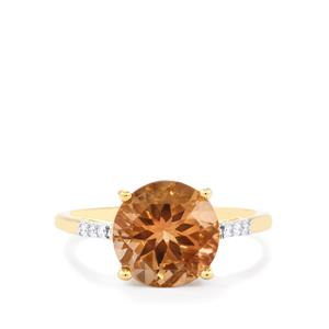 Oregon Sunstone Ring with Diamond in 18k Gold 3.10cts