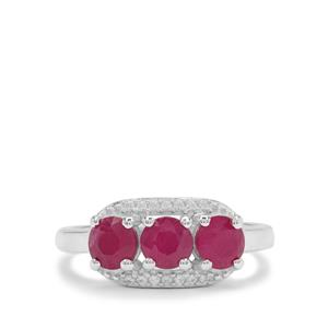 John Saul Ruby Ring with White Zircon in Sterling Silver 1.95cts