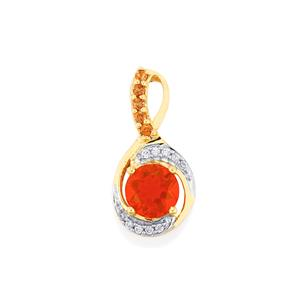 AAA Orange American Fire Opal, Gouveia Andalusite Pendant with White Zircon in 9K Gold 2.30cts
