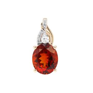 Madeira Citrine Pendant with White Zircon in 9K Gold 4.19cts