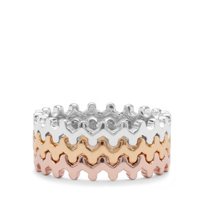 Ring in Three Tone Gold Plated Sterling Silver