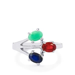 Carnaiba Emerald, Madagascan Blue Sapphire & Malagasy Ruby Sterling Silver Ring ATGW 1.75cts (F)