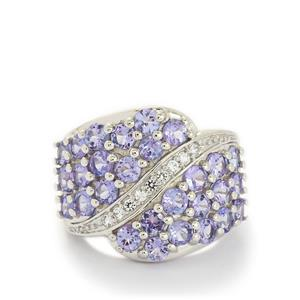 AA Tanzanite & White Topaz Sterling Silver Ring ATGW 3.73cts
