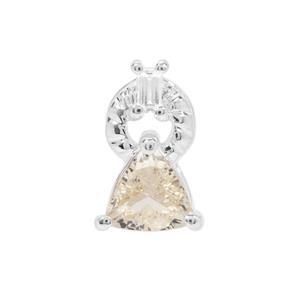 Zambezia Golden Morganite & White Zircon Sterling Silver Pendant ATGW 0.68ct