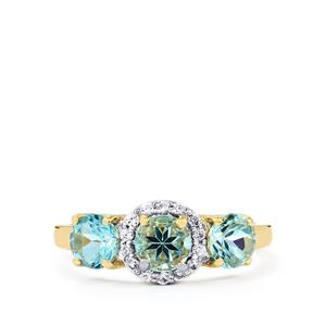 Mozambique Aquamarine Ring with White Zircon in 10k Gold 1.64cts