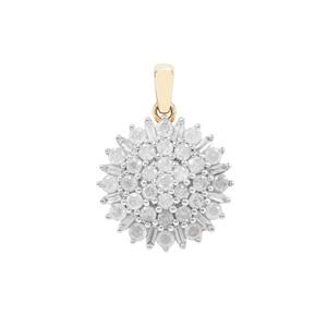 Diamond Pendant in 9K Gold 1cts