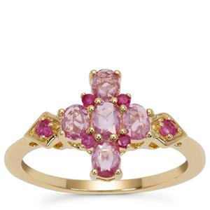 Rose Cut Pink Sapphire Ring with Ruby in 9K Gold 0.90ct
