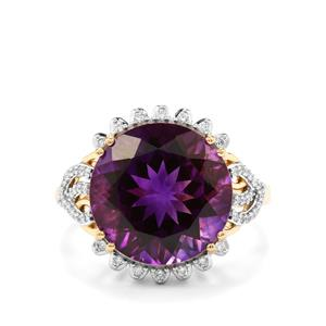 Moroccan Amethyst & Diamond 18K Gold Lorique Ring MTGW 7.22cts