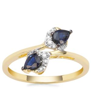 Natural Nigerian Blue Sapphire Ring with Diamond in 9K Gold 0.60ct