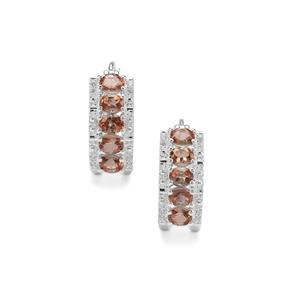 Sopa Andalusite Earrings with White Zircon in Sterling Silver 1.81cts