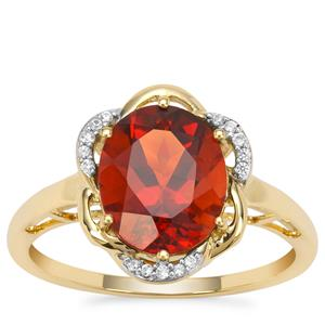 Madeira Citrine Ring with White Zircon in 9K Gold 2.25cts