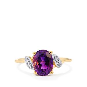 Moroccan Amethyst & White Zircon 10K Gold Ring ATGW 1.89cts