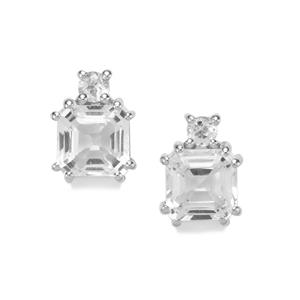 Asscher Cut White Topaz Earrings in Sterling Silver 5.15cts