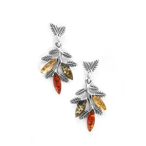 Baltic Cognac, Green & Champagne Amber Sterling Silver Earrings (8x3mm)