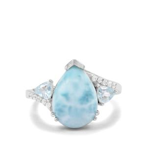 Larimar, Blue Topaz & White Zircon Sterling Silver Ring ATGW 5.58cts