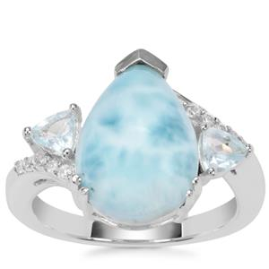 Larimar, Blue Topaz Ring with White Zircon in Sterling Silver5.58cts