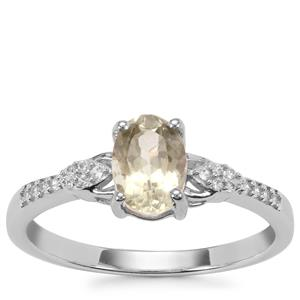 Sillimanite Ring with White Zircon in Sterling Silver 0.97ct