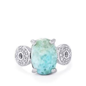 Larimar & White Topaz Sterling Silver Ring ATGW 6.75cts