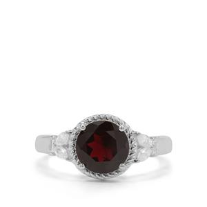 Octavian Garnet Ring with White Zircon in Sterling Silver 2.56cts