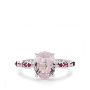 Brazilian Kunzite & Thai Ruby Sterling Silver Ring ATGW 3.71cts (F)