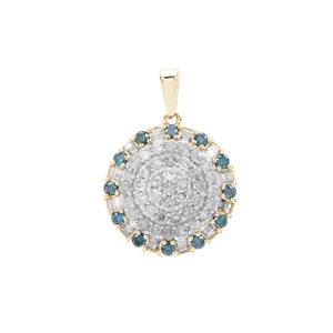 Blue Diamond Pendant with White Diamond in 9K Gold 1cts