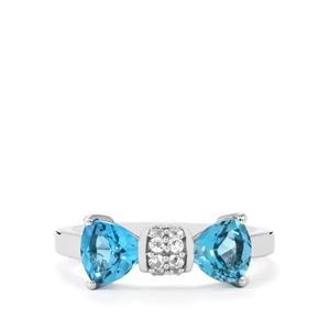 Swiss Blue Topaz Ring with White Topaz in Sterling Silver 1.93cts