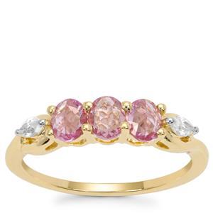 Rose Cut Sakaraha Pink Sapphire Ring with White Zircon in 9K Gold 0.89ct