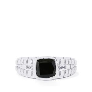 Black Spinel Ring with White Topaz in Sterling Silver 3.25cts