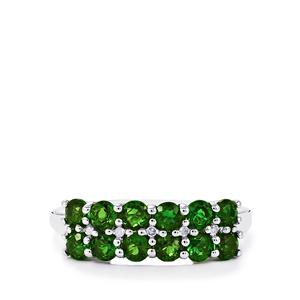 Chrome Diopside & Diamond Sterling Silver Ring ATGW 1.72cts