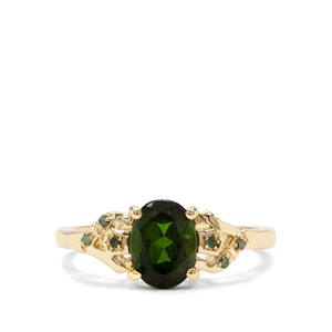 Chrome Diopside & Green Diamond 9K Gold Ring ATGW 1.42cts